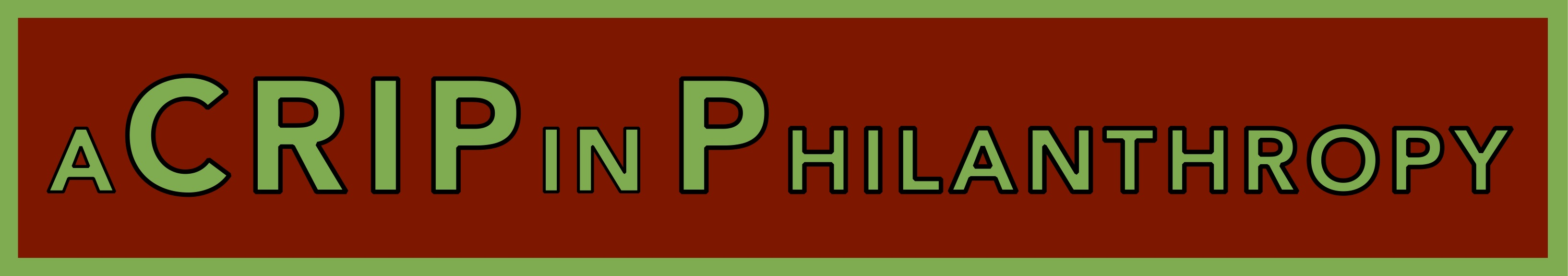 A Crip in Philanthropy banner in red and green