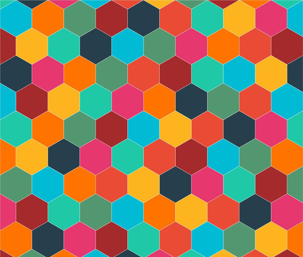 Multi-colored hexagons