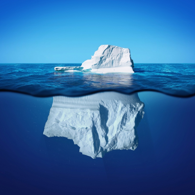Underwater photo view of iceberg with beautiful transparent sea on background
