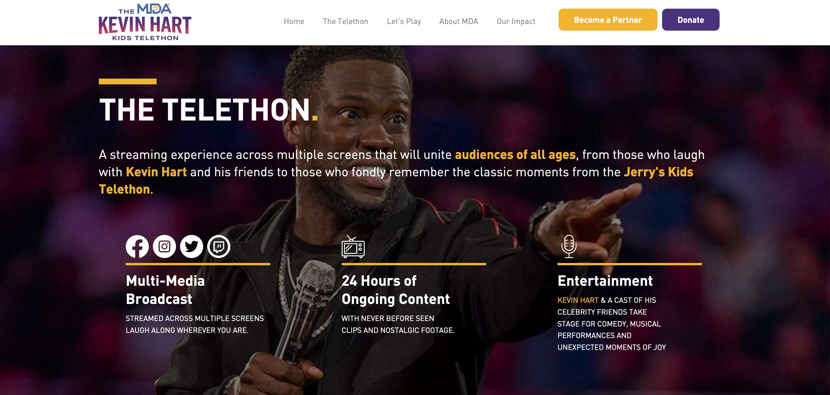 "Screenshot of the MDA Kevin Hart Kids Telethon that includes ""fondly remember the classic moments from the Jerry's Kids Telethon,"" and ""nostalgic footage"""